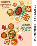 eastern european cuisine meat... | Shutterstock .eps vector #659132629