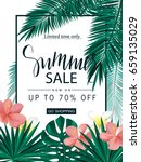 summer sale. tropical banner ... | Shutterstock .eps vector #659135029
