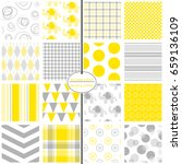 yellow and grey baby paper.... | Shutterstock .eps vector #659136109