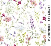 watercolor floral pattern ... | Shutterstock . vector #659136364