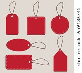 set of blank price tags in red... | Shutterstock .eps vector #659136745