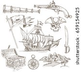 set of hand drawn pirate... | Shutterstock .eps vector #659154925