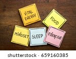 Small photo of vital energy concept - food, exercise, mindset and sleep handwritten on colorful sticky notes against rustic wood