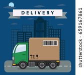 delivery truck drive on the... | Shutterstock .eps vector #659167861