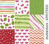 summer digital paper watermelon ... | Shutterstock .eps vector #659175331