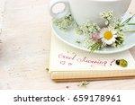 paper notebook with handwritten ... | Shutterstock . vector #659178961