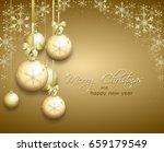 golden christmas background... | Shutterstock . vector #659179549