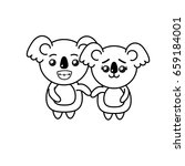 line cute couple koala wild... | Shutterstock .eps vector #659184001