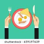 breakfast of eggs bacon and... | Shutterstock .eps vector #659197639