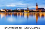 Panorama Of The Night Riga ...