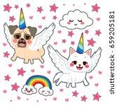 cute comic animal stickers pop... | Shutterstock .eps vector #659205181