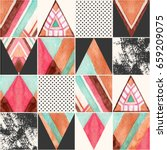 abstract squares and triangles... | Shutterstock . vector #659209075