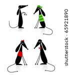 Stock vector funny black dogs silhouette collection for your design 65921890
