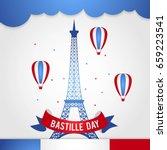happy bastille day  14 july.... | Shutterstock .eps vector #659223541