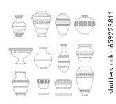 pottery set. stock vector... | Shutterstock .eps vector #659223811