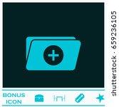 add folder icon flat. blue...