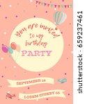 birthday party invitation card. ... | Shutterstock .eps vector #659237461