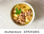 beef soup with potatoes  beans... | Shutterstock . vector #659241841