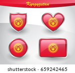 glossy kyrgyzstan flag icon set ... | Shutterstock .eps vector #659242465