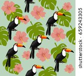 seamless pattern with toucans ... | Shutterstock .eps vector #659243305