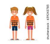 kids in life vest.  flat style... | Shutterstock .eps vector #659243785