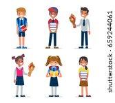 school kids. boys and girls... | Shutterstock .eps vector #659244061