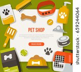 Stock vector  pet care concept design template for web banners infographics with text place flat style vector 659244064