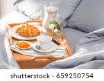 breakfast in bed  a tray of...   Shutterstock . vector #659250754