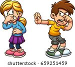 disgusted cartoon boy and girl. ... | Shutterstock .eps vector #659251459
