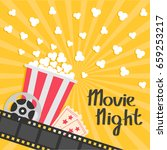popcorn popping. big movie reel.... | Shutterstock .eps vector #659253217