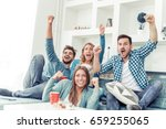 group of friends having fun at... | Shutterstock . vector #659255065