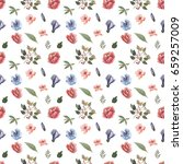 watercolor pattern of flowers... | Shutterstock . vector #659257009