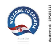 welcome to croatia flag blue... | Shutterstock .eps vector #659258815