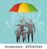 family umbrella protection   Shutterstock .eps vector #659264164