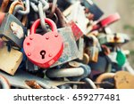 love red romance lock on the... | Shutterstock . vector #659277481