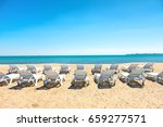 row of beach chairs on the... | Shutterstock . vector #659277571