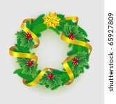 christmas wreath  decorated... | Shutterstock .eps vector #65927809