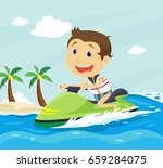 happy little boy riding jet ski ...   Shutterstock . vector #659284075
