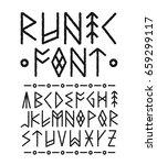 runic hand drawn font. vector...   Shutterstock .eps vector #659299117