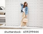 outdoors fashion portrait of... | Shutterstock . vector #659299444