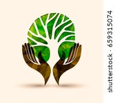 human hands holding green tree... | Shutterstock .eps vector #659315074