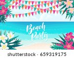 palm leaves  pink  white... | Shutterstock .eps vector #659319175