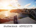 tourist traveler foot on bridge ...