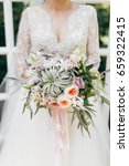 young bride in rustic style at... | Shutterstock . vector #659322415