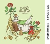 background with ginseng ...   Shutterstock .eps vector #659339131