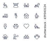 set of 16 relatives outline... | Shutterstock .eps vector #659343124
