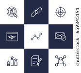 set of 9 search outline icons...