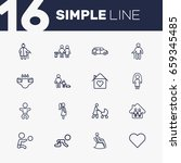 set of 16 relatives outline... | Shutterstock .eps vector #659345485
