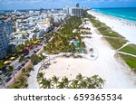 miami beach ocean drive aerial... | Shutterstock . vector #659365534