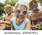 closeup of diverse senior... | Shutterstock . vector #659367811